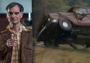 Při honičce moskviče v seriálu Svět pod hlavou šlo o život! Strach měli i Trojan s Neužilem.