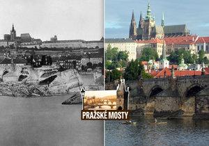 Rozvodněná Vltava roku 1890 způsobila Karlovu mostu rozsáhlé škody.
