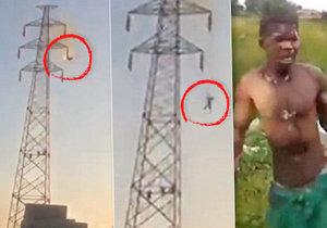 Na stožáru vysokého napětí dostal 30 000 voltů: Přežil i následovný pád na zem.