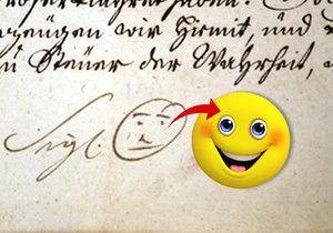 Historický dokument z roku 1741. Smajlíka nakreslil tehdejší opat Bernard Hennet.