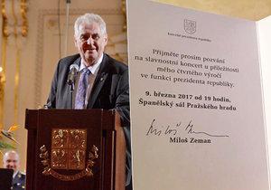 Miloš Zeman ohlašuje na Pražském hradě svou druhou kandidaturu na prezidenta ČR, 9. 3. 2017.
