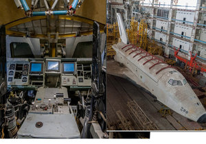 Opuštěný sovětský raketoplán v obřím hangáru v Kazachstánu