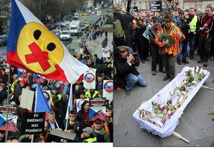 Odpůrci směrnice EU o zbraních protestovali v centru Prahy.