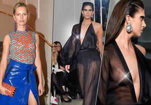 Karolína Kurková se pochlubila sukní z PVC, Aneta Vignerová pro změnu vystavila nahá ňadra.