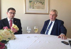 Prezident Miloš Zeman na tiskové konferenci v Chorvatsku