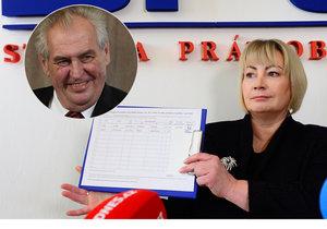 Ivana Zemanová zahájila sběr podpisů pro druhou kandidaturu Miloše Zemana.