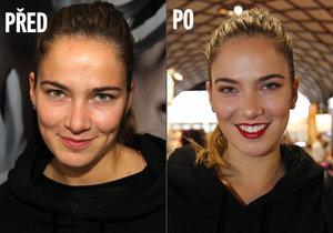 Andrea Bezděková bez a s make-upem