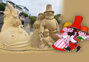 Rumcajs z písku! Rodinka z Řáholce zdobí náplavku v Písku.