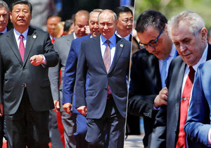 Čínský a ruský prezident jdou na společné focení pevným krokem. Českého prezidenta musel přivézt golfový vozík.