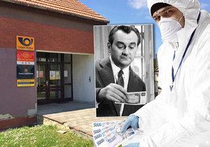 Zloděj předstíral, že je policista a po chemickém útoku musí dezinfikovat peníze. Ty z pošty ukradl. Podobnou fintu použil ve filmu i Jiří Sovák.