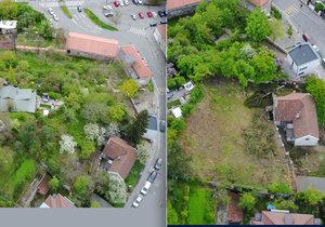 Stromy v osadě Buďánka před a po pokácení