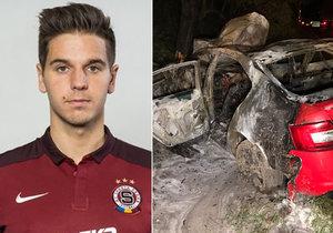 Fotbalista Sparty boural opilý: Z hořícího auta ho vytáhli na poslední chvíli!
