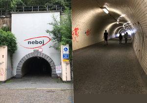 Tunel spojuje Žižkov s Karlínem, hlavně v noci se sem řada lidí bojí jít.