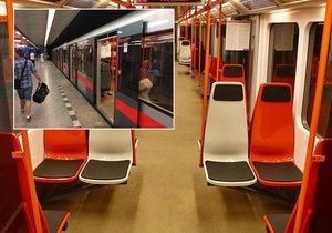 Jedna ze souprav metra C má plastové sedačky.
