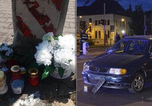 V místě, kde srazilo auto dva malé chlapce, vznikl pomníček.