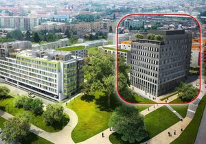 Na starší vizualizaci je vpravo vidět původně zamýšlená administrativní budova, která ještě nestojí a má se změnit.