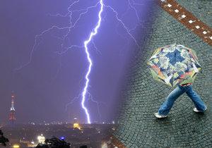 Do ženy v Praze skrze deštník udeřil blesk.