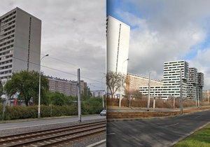 Stávající stav budov (vlevo) a návrh společnosti CPI Property Group (vpravo).