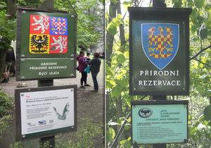 Svérázný vandal v Moravském krasu takto vyzdobil oficiální ceduli přírodní lokality. Přelepil ji moravskou orlicí.
