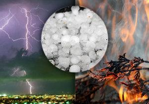 Bouřky, kroupy i požáry by mohly zasáhnout Česko