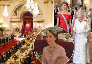 Setkání dvou královských párů v Británii: Vévodkyně Kate na pompézní státní večeři oblékla odvážný model!