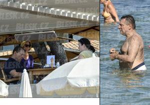 Paroubek se rekreuje ve čtyřhvězdičkovém hotelu ve Francii. Společnost mu dělá záhadná brunetka.
