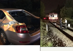 Řidič na Zličíně nedal přednost vlaku. Ten mu urazil část kufru