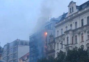 Požár hotelu na Václavském náměstí