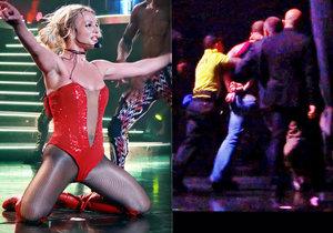 Náruživý fanoušek vtrhl na pódium za Britney Spears a vyděsil ji k smrti.