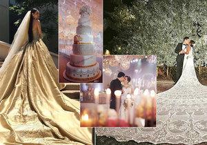 Devítipatrový dort a třímetrová vlečka s křišťály! Podívejte se na luxusní svatby na Filipínách.