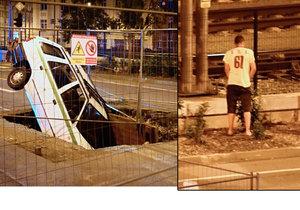 Zaparkoval v díře, vymočil se a zmizel! Kuriózní nehoda v Českém Těšíně rozchechtala Facebook
