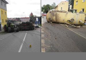 V Pelhřimově havaroval traktor s fekáliemi: Natekly až do domu