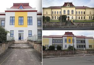 Škola v Kamenných Žehrovicích před a po rekonstrukci