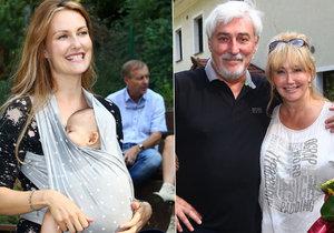 Zuzana Rosáková přišla na tátovu oslavu narozenin se synem v šátku.