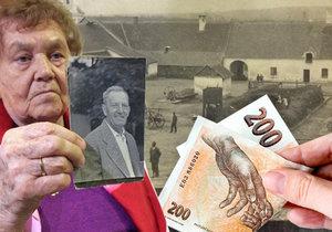 Eliška Kolečkářová s fotkou svého otce Metoděje Hlobílka. Rodina získala nyní odškodnění za zabavený majetek v roce 1951. Stát jim přiznal 200 korun...
