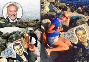 Karel Gott má pomník! Slavíkovu podobiznu někdo nakreslil na kámen v Bulharsku.