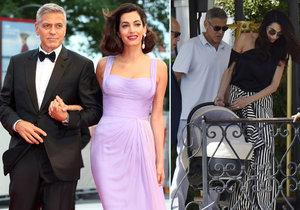 George a Amal Clooneyovi jsou v Benátkách jako doma. Však se tam i brali.