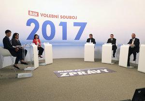 Hosty prvního Blesk předvolebního souboje 2017 s názvem Peněženka byli: Radka Maxová (ANO), Michaela Marksová (ČSSD), Jiří Dolejš (KSČM), Jan Bartošek (KDU-ČSL), Zbyněk Stanjura (ODS) a Markéta Adamová (TOP 09).
