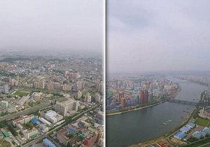 Severokorejská metropole Pchjongjang z letadla