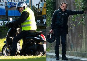 Oldřich Vízner se sotva držel na nohou, na motorku ale přesto nasedl.