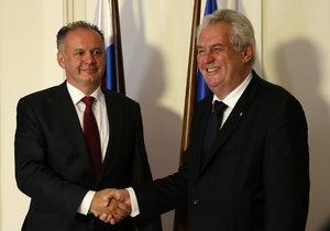 Slovenský prezident Andrej Kiska přivítá v Bratislavě Miloše Zemana. Fico je pryč