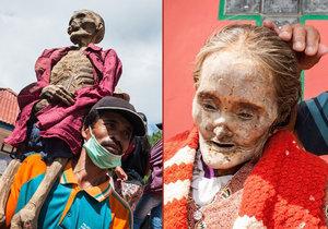Bizarní festival Ma'Nene, při kterém lidé z kmene Toraja vykopávají své blízké z hrobů.