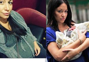 Agáta byla ještě den před porodem v kině. O pár hodin později už Kryšpínovi (na fotce vpravo) přibyla na světě sestřička