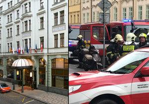 V neděli ráno hořelo v secesním hotelu v centru Prahy. Hasiči evakuovali 60 hostů.