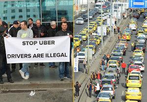 Taxikáři plánují další protest proti Uberu.