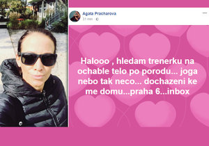 Agáta Prachařová shání týden po porodu dcery trenérku.