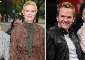 Seriálove hvězdy Cynthia Nixon Neil Patrick Harris s manželkou a manželem, se kterými vychovávají děti