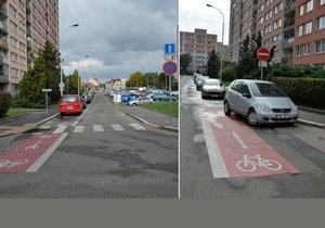 Cyklopruh v Bohnicích je ukončený v křižovatce, podle experta je toto řešení matoucí.