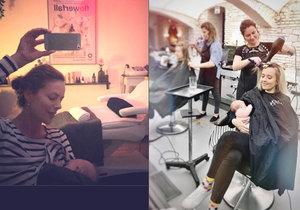 Andrea Kerestešová s Tamarou Klusovou kojily svá dítka v salonech krásy.