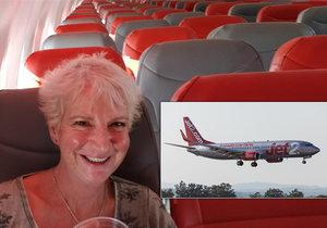 Karon měla celé letadlo jen pro sebe.